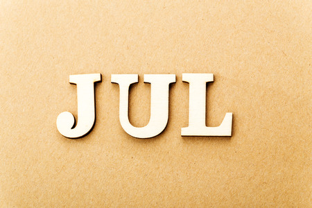 Wooden text for July photo