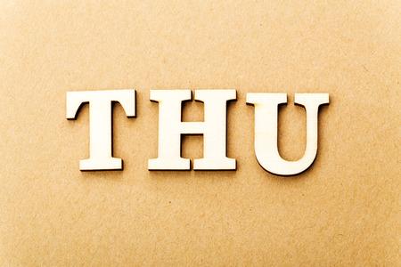 thursday: Wooden text for Thursday
