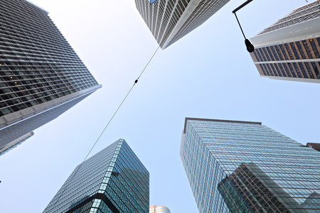 directly below: Business center from low angle view Stock Photo