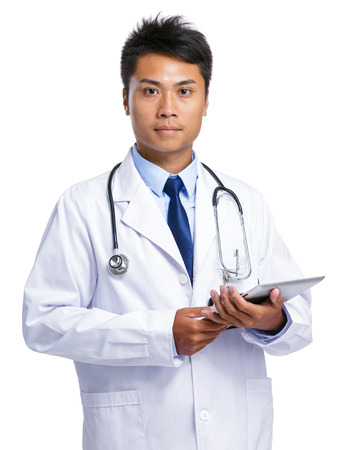 Asian doctor hold tablet photo