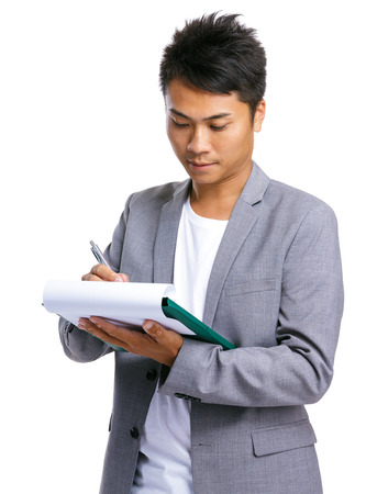 writ: Business man writ on clipboard Stock Photo
