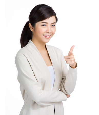 Young woman point to front photo