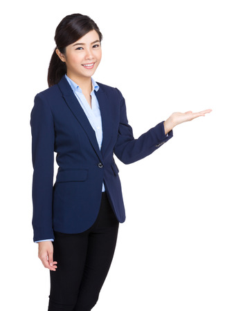 Business woman open palm hand photo