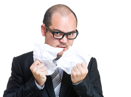 Businessman tear off paper photo
