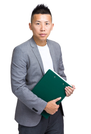 Business man with clipboard photo