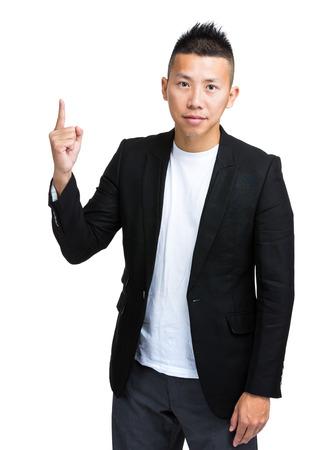 finer: Asian businessman finer pointing up