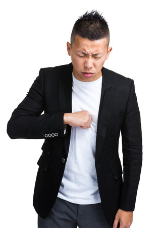 strongly: Strongly coughing man Stock Photo
