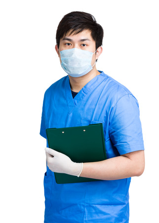 Doctor with surgical uniform hold clipboard photo