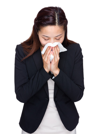 runny: Business woman runny nose