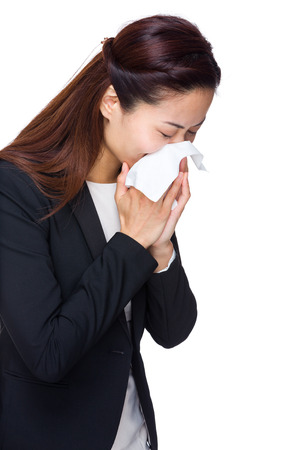 Business woman with allergy photo