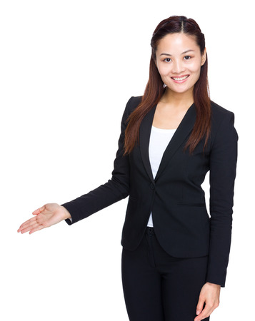 Businesswoman hold open palm photo