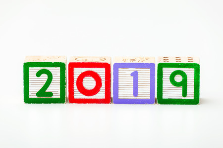 Wooden block for year 2019 photo