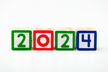 Wooden block for year 2024 photo