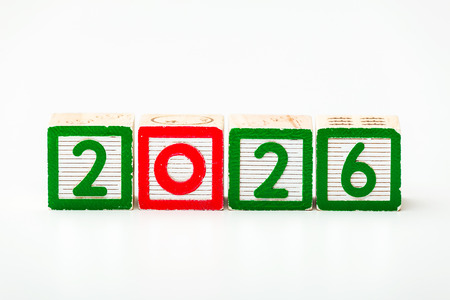 Wooden block for year 2026 photo