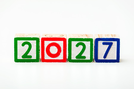 play date: Wooden block for year 2027 Stock Photo