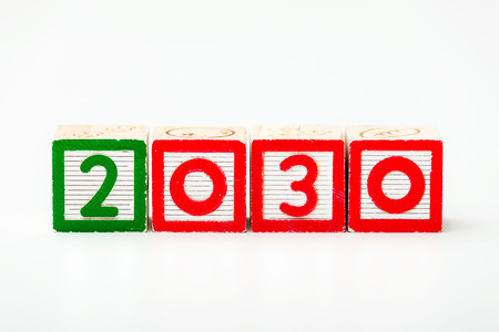 Wooden block for year 2030 photo