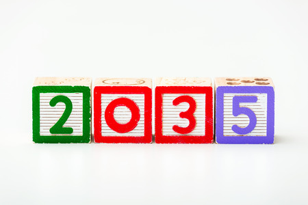 Wooden block for year 2035 photo