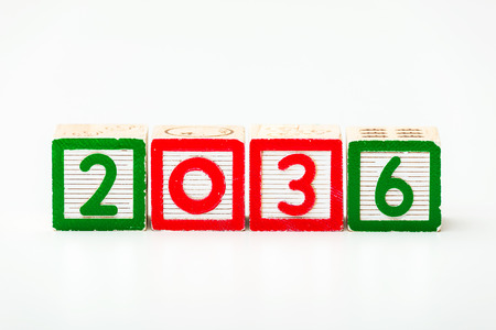 Wooden block for year 2036 photo