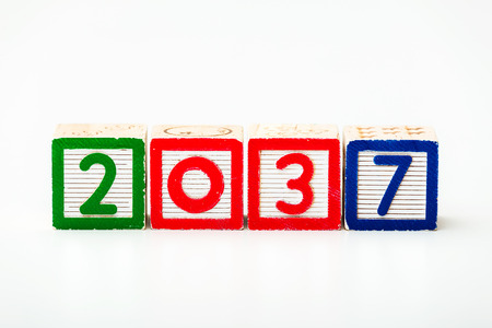 play date: Wooden block for year 2037