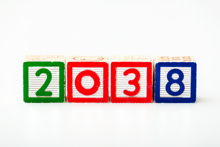 Wooden block for year 2038 photo