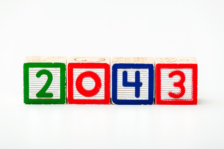 Wooden block for year 2043 photo