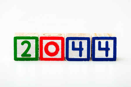 Wooden block for year 2044 photo