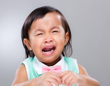 tearful: Little girl cry