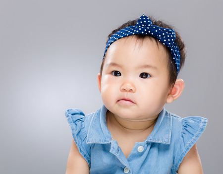 Asian baby girl confuse
