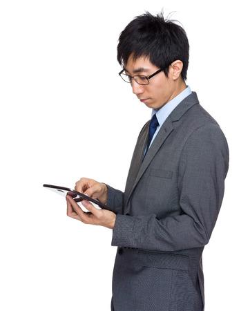 asian businessman: Asian businessman  touch on tablet