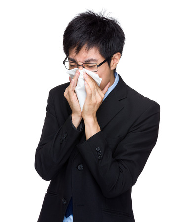 runny: Businessman suffer from runny nose