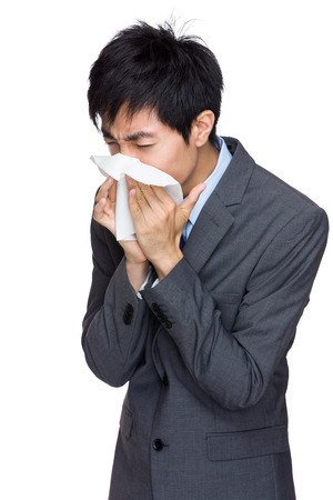 Asian business man runny nose photo