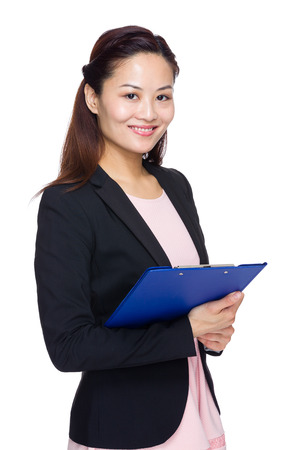 chinese woman: Business secretary with clipboard