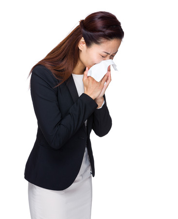 Asian business woman sneeze photo