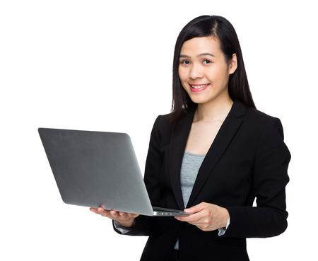 buisness woman: Asian buisness woman use laptop computer