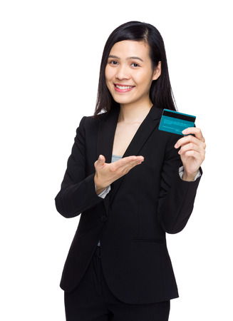 Business woman hold with credit card photo