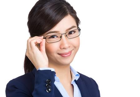 ビジネスの女性のメガネと 写真素材