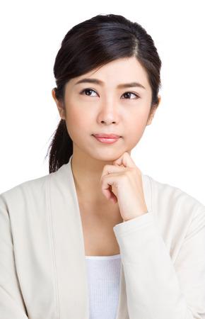 Asian woman thinking photo