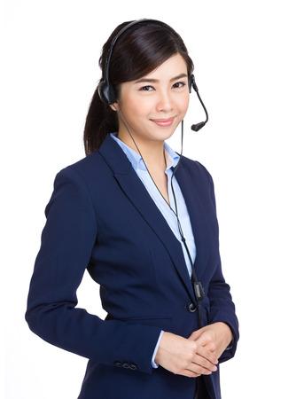 hotlink: Telemarketing headset woman Stock Photo