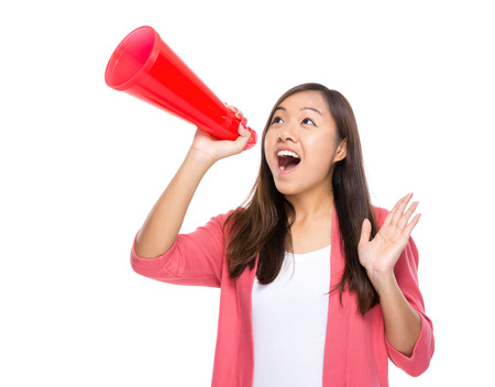 chinese woman: Woman shout with megaphone Stock Photo