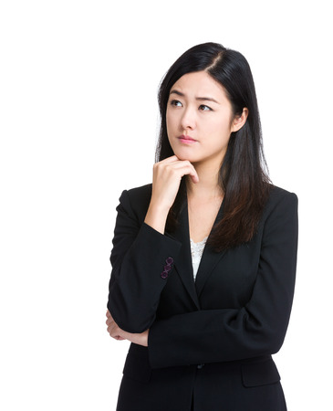 Asian Business Woman thinking isolated photo