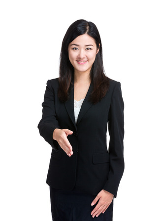 Business woman give hand for handshake photo