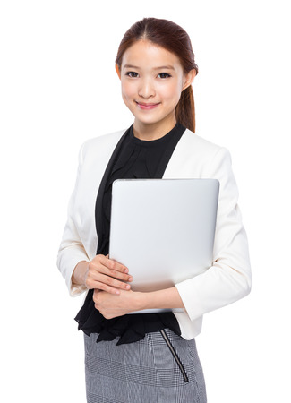 black secretary: Asian young secretary with notebook computer Stock Photo