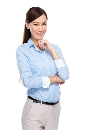 Asian businesswoman rest chin on hand photo