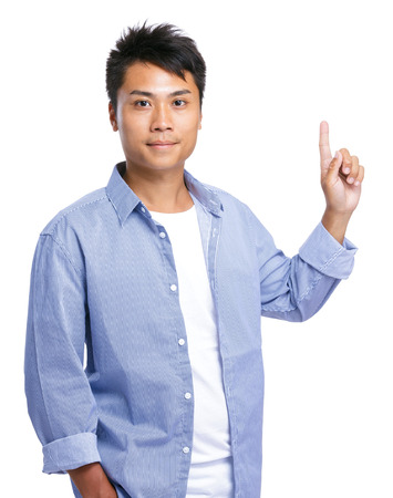 causal clothing: Asian man finger point up