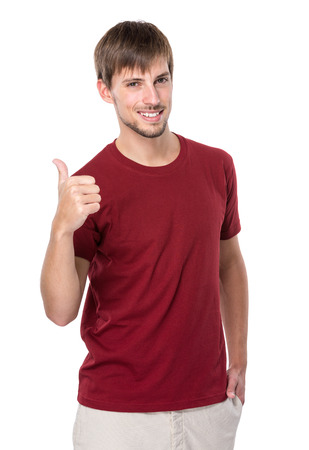 Caucasian man with thumb up photo