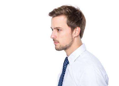 Male Profile: Side profile of businessman Stock Photo