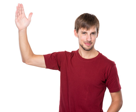 Man with hand up photo