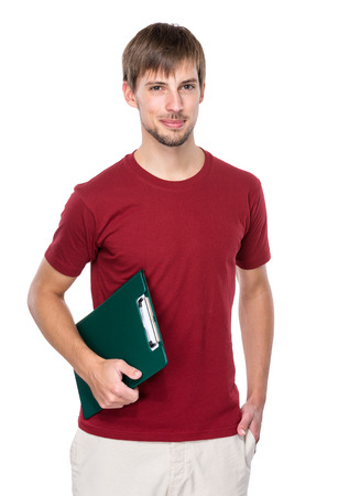 Caucasian man with clipboard photo