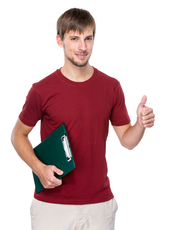 Caucasian man hold clipboard and thumb up photo