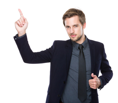 Businessman with finger up